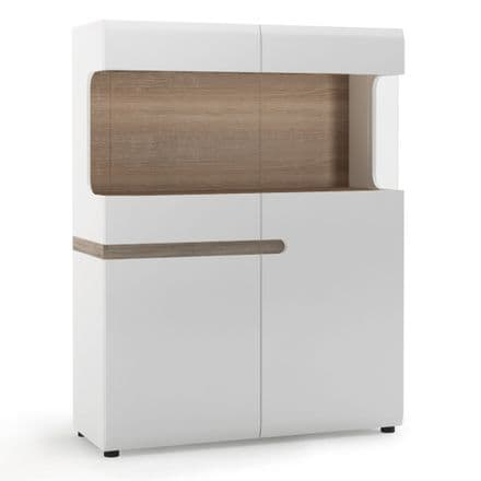 Chelsea Living Low Display Cabinet 109 cm wide in white with an Truffle Oak Trim